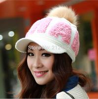 New 2014 Winter Cap Women Warm Woolen Knitted Fashion Hat For Gilrs Real Fur Ball Beanie Cap Woman Fur Cap Accessories