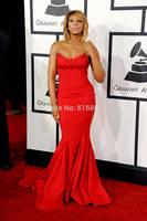 Grammys 2014 Tamar Braxton Red Strapless Mermaid Celebrity Red Carpet Dresses