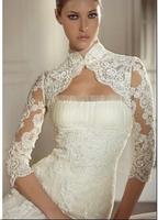 Sexy 3/4Sleeve Three Quarter See Through White Lace Bridal Shawl Wrap Bolero Wedding  Jacket Open Back Sequins Wedding Accessory