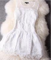 Women's Fashion Novelty Dress Lace Patchwork Dress Sleeveless Tank Slim Vestidos Sexy Vintage Dresses LQ8502LMX free shipping