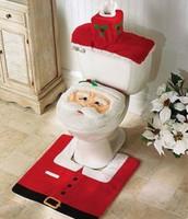 3Pcs/set Hot Sell Christmas Decorations Happy XMAS Santa Claus Toilet Seat Cover +Contour Rug +Tank Cover