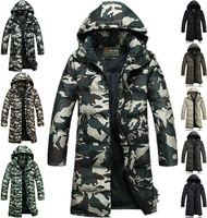 winter men's long design hooded down jacket 2014 brand fashion camouflage thickening warm parkas coat outerwear plus size M-4XL
