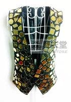 2014 New fashion nightclub bar Male singer ds Gold Intensive gold Mirror Surface vest