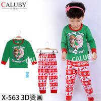 New Year sports kids sets Winter Christmas child 2 piece suit Pyjamas 3D Printed girls clothing sets Snow Elsa frozen pyjamas