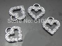 Wholesale - 100pcs full rhinestone heart hang pendant charms DIY jewelry findings