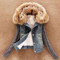 S-4XL Autumn winter short denim vestidos casual slim yarn large fur collar jeans amb denim outerwear jeans coats LQ8021LMX