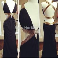 JM.Bridals CY3725 Real Sample Black Gold Beaded Mermaid Sexy Backless Prom Dress 2015 Vestidos de Baile