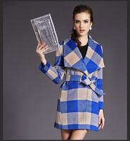 2014 Autumn Winter clothing new style grid cloth coat wool coat dust coat discount sales promotion J028