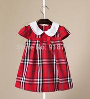 9 Colors Girl's Dress Plaid Princess Dress 2-6T Short Sleeve Bow Collar Fashion Classic  Brand Children Clothing Summer Cotton