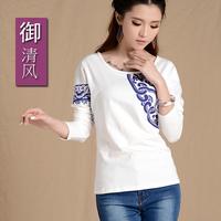 2014 autumn women's long-sleeve T-shirt national trend long-sleeve T-shirt female print basic shirt long-sleeve t shirt