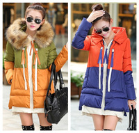 new 2014 winter fashion women colorblock casual long down & parkas coat ladies large faux fur hooded plus size jacket overcoat