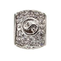 5pc Silver Tone Crystal Barrel Spacer Charm Bead Fit European Bracelet A1234
