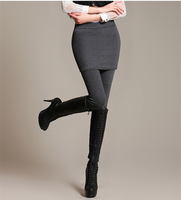 2014 Casual Women's Basic Plus Velvet Thickening Trousers Legging Faux Two Piece Slim Hip Skirt Pants Down Pants
