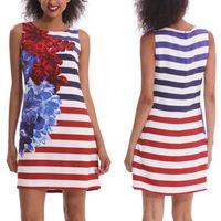 New 2014 Summer Sexy&Club Women Fashion Floral Print Striped Patchwork Sleeveless Tank Mini Sheath Dress Vestidos, S, M, L