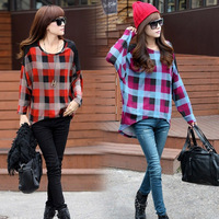 New 2014 Autumn Casual Women Patchwork Plaid Batwing Sleeve Long Loose Tops Tees T Shirts, Red, Sky Blue, M, L