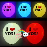 Free Shipping40pcs/lot LED light up Balloon i Love You.ballons decoration.Wedding Balloons Party Decoration Latex Helium Balloon
