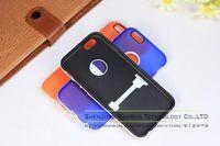 200pcs Hybrid Dual Color Kickstand TPU Case Back Cover Coque for iPhone 6 Plus 5.5
