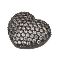 5pc Black Gun Metal Crystal Decorated Heart Shape Spacer Charm Bead A1232