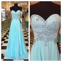 JM.Bridals CY3756 Real Sky Blue Sweetheart Crystal Vestido de Chiffon Long Prom Dresses
