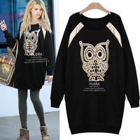 2014 spring and autumn fashion medium-long o-neck loose plus size sweatshirt owl long-sleeve