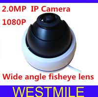 2.0MP Mega pixel Fish eye wide angle Dome IP Camera 1080P indoor security HD camera Free shipping