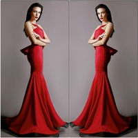 CY3760 Latest Designs Halter Red Mermaid Prom Dress Backless Robe de Soiree 2014