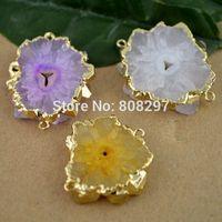 Fit Bracelet - 8pcs- Gold Plated Edge , Mixed Color Drusy Druzy quartz  Agate Connector Beads Finding