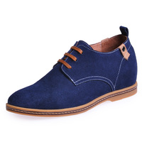Dark blue tide height grow casual shoes handmade genuine leather height sneakers that add height 6cm / 2.36inches