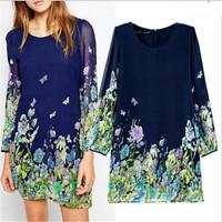 Women's Brand Elegant Chiffon Dresses Women Butterfly Floral Print Dress Causal Street Party  Dresses For Spring Summer