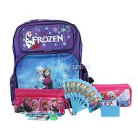 2014 New Frozen School Bags Frozen Backpacks Anna Elsa Princess Printing Watch Lunch Box Stationery Set