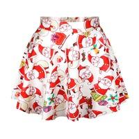 East Knitting R46 New 2014 Autumn Vintage Skirts Women's Short Skirts Cute Father Christmas Print Short Skirt Saia Free Shipping