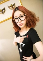 2014 Hot Sale  New O-Neck Summer Women Simple Fashion Style Letters And Lip Print T-shirt Black CP12040207-1 Free Shipping