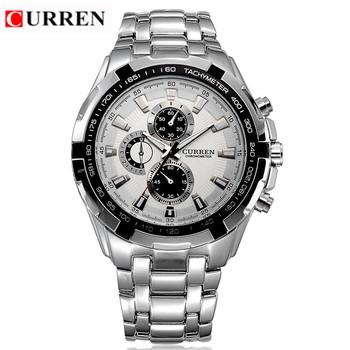 Curren бренд мужской часы мода и свободного покроя полный стали спортивные часы Relogio Masculino мужской деловой случай япония кварцевые наручные часы