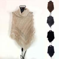 free shipping length 90cm new style desigual fashion 2014 brand cotton viscose wool tassel winter women poncho
