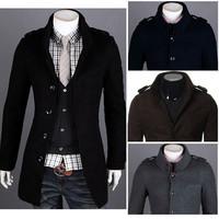 Stylish 2014 Autumn Winter Korean Style Men Single Breasted Slim Fit Overcoat Pocket Decoration Badges Stand Collar Coat