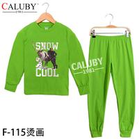 2014 New Year sports kids sets Winter Christmas 8T- 12T child 2 piece suit Pyjamas Printed GIRL sets frozen pyjamas F-127