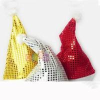 3pcs 3 Colors/Pack 2014 New Adult Unisex Christmas Hat Xmas Santa Winter Soft Paillette Hat Thin Gift