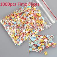 New 1000pcs/pack Christmas Gift Mixed Design Nail Art Fimo Clay Decoration 3D Nails Tips UV Gel Nail Sticker