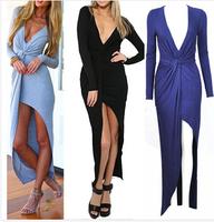 Celebrity Bandage Dress Summer New 2014 Sexy Asymmetrical Draped Dress Explosion Party Deep V-neckVestido Longo Prom Dress XL037
