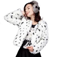 2014 Hot New Straight O-neck Faux Fur Coat Fashion Plus Size Printed Long Sleeve Warm Women's Coats 8285