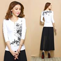 Autumn basic shirt national trend ink print V-neck long-sleeve plus size t-shirt female