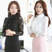 spring and autumn ladies wear white shirt women long sleeves Korean chiffon shirt retro lace top