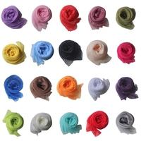 Candy Color Lady All-match Pleated Stylish Soft Chiffon All-season Wrap Shawl Silk Scarf Scarves Women#65905