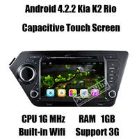 Glonass Android 4.2.2 Car DVD GPS for Kia K2 Rio+Dual Core CPU 1Ghz+RAM 1GB+ROM 8GB+3G Wifi host+Dual Zone+iPod function+SD card