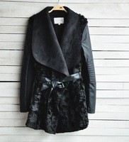 2014 Brand Black shearling panel waterfall biker jacket Women Fur Coat with Sashes long PU Leather Outerwear
