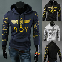 Sale 2014 Hot New Men's Color Hooded With Hat Fleece Fashion Casual Hoodie Long Sleeve Clothes For Men Best Selling