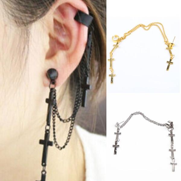 1PC Women Ladies Punk Rock Cross Chain Long Tassel Dangle Ear Cuff Wrap Earring(China (Mainland))