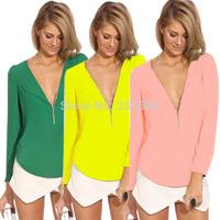 S-XXXL 2014  Women Blouses Long Sleeve Casual V-Neck Zipper Chiffon Blouse Plus Size Blusas Femininas Shirt Tops Hot Sale