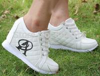 Black White Hidden Wedge Heels Fashion Casual Women's Elevator Shoes Sneakers Sports Shoes For Women Rhinestone A