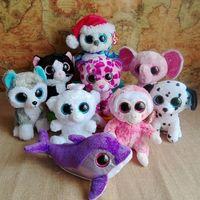 TY Big eyes soft dolls 15cm 10pcs/lot dolls cute plush toys purple  animals   gifts for kids  free shipping